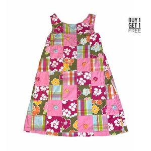 Gymboree Flowers / Madras Plaid Back Bow Dress 4